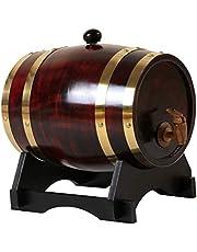 FLAMEER Barril de Vino de Roble Almacenamiento de Cerveza casera Barril de Puerto con Soporte para el Vino del Whisky del Vino del Whisky decoración del Hotel - 3L Rojo Vino Retro