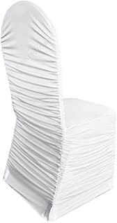 Wedding Linens Inc. Ruffle Spandex Banquet Fitted Chair Covers, Ruffled Ruched Lycra Stretch Elastic Wedding Party Decoration Chair - White