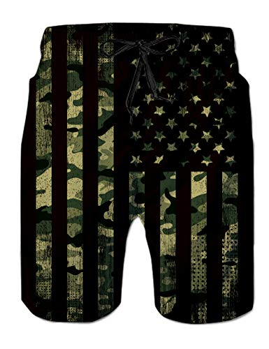 Camo Mesh Liner Board Shorts for Men Funny USA Flag Graphics Swim Trunks 80s Youth Male Summer Stylish Independence Day Hawaiian Beach Boardshorts 2 Pockets Holiday Sports Bathing Suits, Patriotic XL