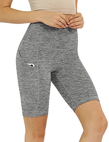 """ODODOS Women's 9"""" High Waisted Biker Shorts with Pockets, Tummy Control Non See Through Weokout Sports Athletic Running Yoga Shorts, CharcoalHeather, Large"""