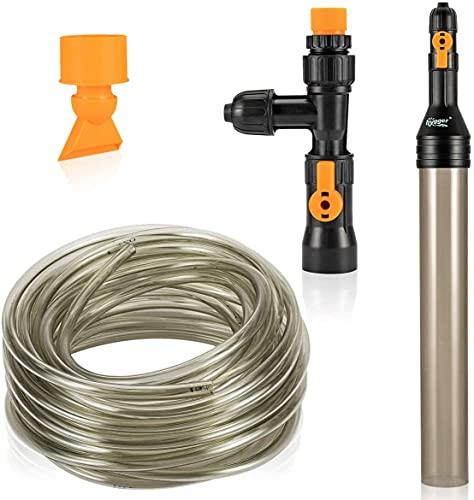 hygger Automatischer Wasserwechsler für Aquarien, Mulmsauger für Aquarien, Kiesreiniger für Fischaquarien, Kiesreiniger Rohr mit langem Schlauch Wasserwechsler Wartungswerkzeug (10M)