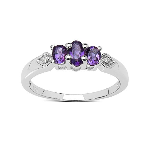The Amethyst Ring Collection: Sterling Silver Amethyst 3 Stone Engagement Ring with White Topaz Set Shoulders (Size V)