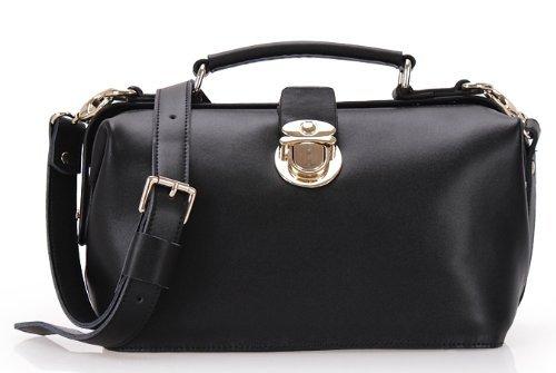 Hot Sale MDR Store Genuine Leather Woman Doctor Vintage Bag Women's Messenger Handbag Lady Shoulder & Handbag YZ08 3 Colors (Black)