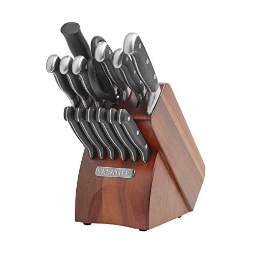 Sabatier 15-Piece Forged Triple-Rivet Knife Block Set with Acacia Block