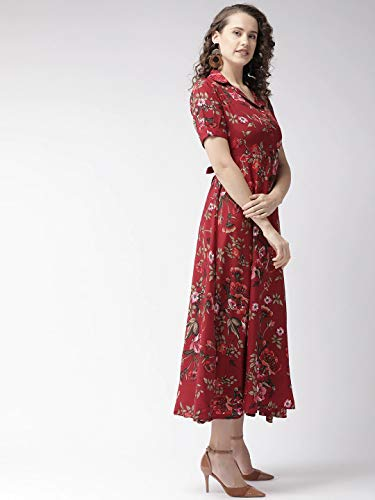 Bollyclues Women's Crepe Fit and Flare Maxi Dress (BCPR001DS_Maroon_XL)