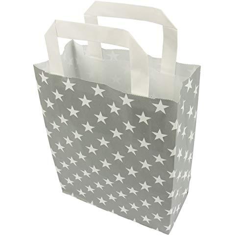 trendmarkt24 Papiertragetaschen Sterne grau 6 Stück mit Papiergriff Papiertüten ca. 18x22x8 cm Papiertaschen Kraftpapier Geschenkstüten Einkaufstüten Papiertragetüten basteln | 230199-A