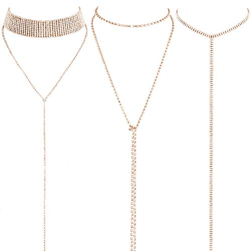 3 Pieces Layered Necklace Layered Choker Necklace Double Rhinestones Crystal Fashion Multilayered Long Choker Necklaces Rhinestone Jewelry Necklace Chains for Women and Girls (Gold)