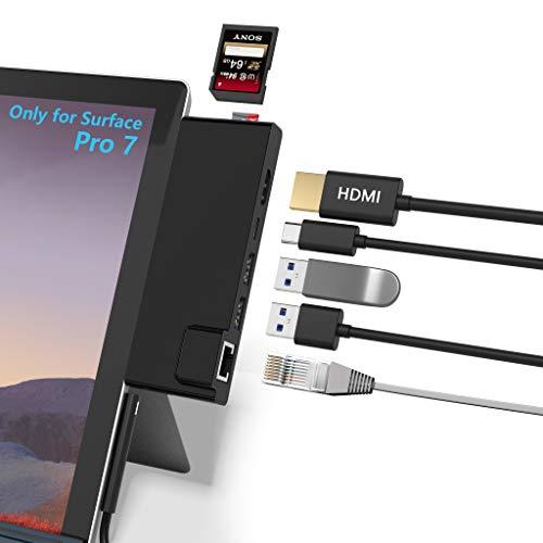 Surface Pro 7 Hub Docking Station mit 4K HDMI Adapter + 1000M Gigabit-Ethernet-LAN + USB-C-PD-Aufladung +2-Port USB 3.0 + SD/TF-Kartenleseadapter für Microsoft Surface Pro 7
