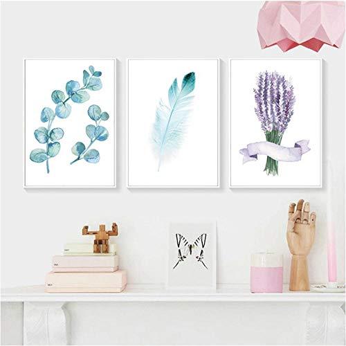 Moderne lavendel en blauwe veren, print van de plaat, afbeelding op canvas, afbeelding initialen, decoratie van de muurkunst kan worden gepersonaliseerd, 40 x 60 cm x 3 zonder lijst.