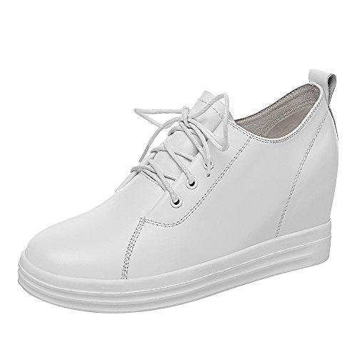 Jamron Mujer Suave Cuero Genuina Talón de Cuña Oculta Zapatillas Confortable con Cordones Casual Zapatos de Deporte Blanco SN020626 EU35