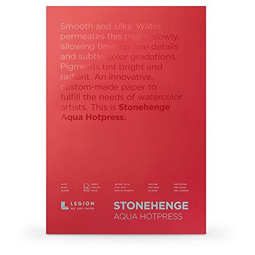 Legion Stonehenge Watercolor Aqua Block (L21-SQH140WH1420), 140 Hot Press, 14 X 20 inches, 15 Sheets, White