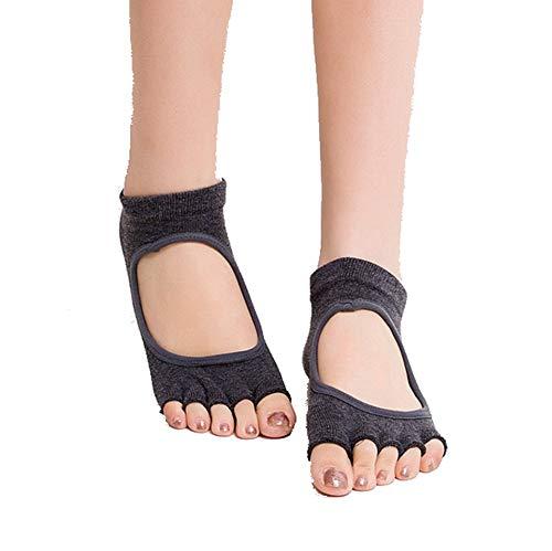 VIWIV Yoga-Socken, 10 Farben Optionale Yoga-Socken Mit Rückenfreiem, Fünffüßigem, Rutschfestem Schritt (3 Paar), Geeignet Für Damen-Sport-Pilates-Fitness-Socken,4