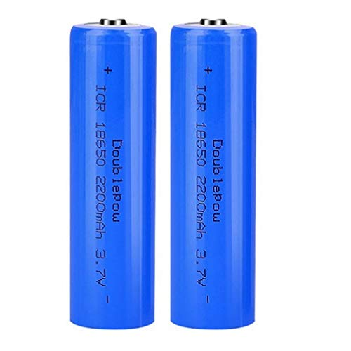 2 Pièces 3.7 v Batterie 18650 Batteries Rechargeables,2200mah 3.7v ICR Lithium Batteries Bouton Top Piles Rechargeable Batteries pour Lampe de Poche Phare