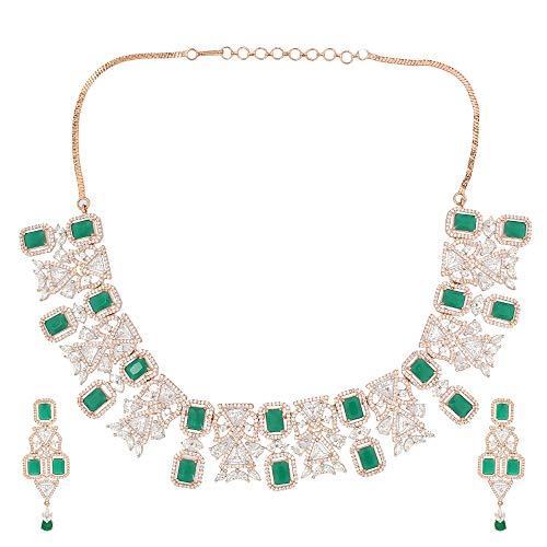Soni ZAPPHIRE - Parure composta da Collana e Orecchini, con Diamanti Indiani Americani e Smeraldo semiprezioso Verde Scuro incastonato in Oro Rosa Lucido con Orecchini per Ragazze e Donne