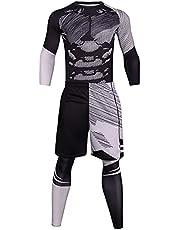 Sport Tight Suit Heren Sport Compressie Broek & Panty Lange Mouw Shirt en Korte Sets 3 Stuk