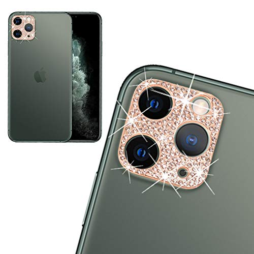 Rear Camera Decorations for iPhone 11 Pro & 11 Pro Max 3D Bling Bling Diamond Lens Protective with Flash Hole Ring Anti-Fall Decorate Crystal Rhinstone Sticker Protector Cover Pink