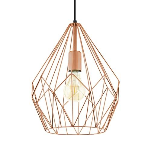 EGLO Lustre CARLTON, 1 suspension à flamme vintage, lampe suspendue rétro en acier, couleur : cuivre, douille : E27