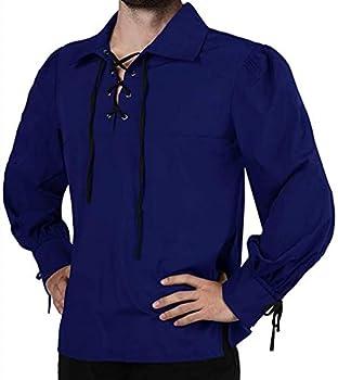 Mens Lace Up Medieval Pirate Shirt Viking Renaissance Mercenary Halloween Jacobite Ghillie Tops Blue