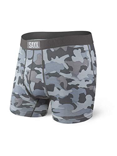 Saxx Underwear Men's Boxer Briefs- Ultra Boxer Briefs with Fly and Built-in Ballpark Pouch Support – Underwear for Men,Graphite Stencil Camo,Medium