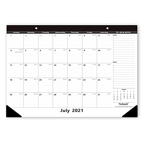 Nekmit 2021-2022 Academic Yearly Monthly Desk Pad Calendar, Wall Calendar for Planning, Runs from Now to December 2022, Ruled Blocks, 16-3/4 x 11-4/5 Inches, Black