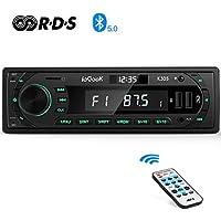 Autoradio Bluetooth Coche RDS Estéreo ieGeek, Luz de Botón 7 Colores, 60W X 4 Soporta FM/AM/AUX/FLAC/MP3/WMA/WAV/APE/USB/SD/Control Remoto, Reloj de visualización, Guardar 30 Emisoras de Radio, 1DIN