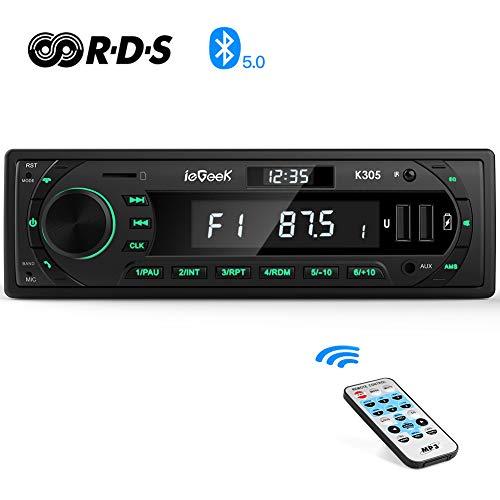 Autoradio Bluetooth RDS Stereo ieGeek, Luce dei Tasti a 7 Colori, 60WX4 Supporta FM/AM/AUX/MP3/WMA/WAV/FLAC/APE/USB/SD/Telecoman, Doppio Display LCD con Orologio domemorizza 30 stazioni radio, 1DIN