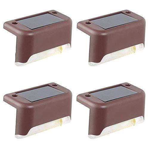 Fltaheroo Luces de Cubierta Solares, 4 Paquetes de Luces de Paso Impermeables al Aire Libre IP65, Usadas para Cerca de EscalóN de la Escalera del JardíN - MarróN + Luz Blanca
