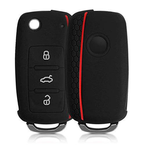 kwmobile Funda de Silicona Compatible con VW Skoda Seat Llave de Coche de 3 Botones - Carcasa Suave de Silicona - Case Mando de Auto Negro/Rojo