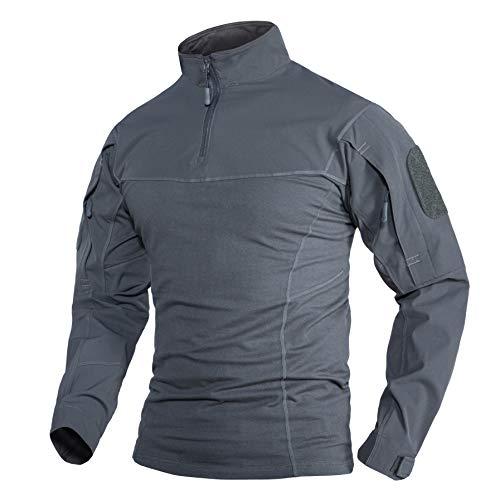 Arbeit Shirts Herren Langarm Sport T-Shirt Polo Hemd Military Tactical Shirt Arbeitshemd Militär Taktisches T Shirt mit Taschen Grau