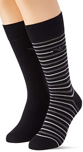 Emporio Armani Underwear Short Socks Set 2Pack Casual Juego de 2 calcetines cortos, negro, Talla única para Hombre