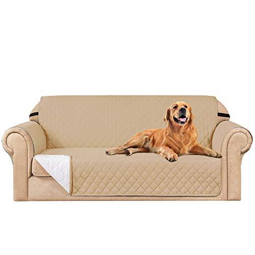 subrtex Funda de sofá Reversible Acolchada para 1,2,3 plazas (3 Plazas, Beige)