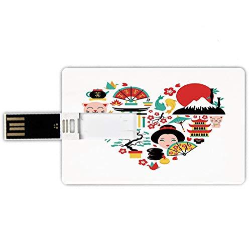 32GB Chiavette USB a forma di carta di credito giapponese Memory Card stile carta di credito The Land of the Rising Sun Culture Bonsai Tree Fuji Mountain Tea Sushi Zen Design,Multicolor Penna impermea