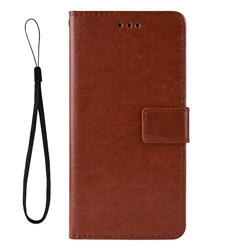 Hllycr Redmi Note 9S Leather Case with magnetic Flip Kickstand Case with Card Slots Protective Cover for Xiaomi Redmi Note 9S - Brown
