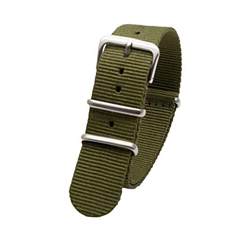 Reloj de los Deportes de la Banda de 18mm 20mm 22mm 24mm OTAN Correa de Nylon para/de Las Mujeres del Reloj de reemplazo de los Hombres de la Correa, Verde, 18mm