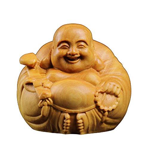 LXYZ Decoración de Feng Shui Chino, Madera de álamo Amarillo, estatuas de Buda riendo, para el hogar y la Oficina, atraen Riqueza y Buena Suerte, Regalos de felicitación, pequeños