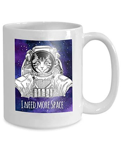 N\A Taza de café, Divertida Taza de café Regalo Animal Astronauta Imagen Gato doméstico con Traje Espacial Galaxia Fondo Espacial Estrellas Nebulosa Acuarela