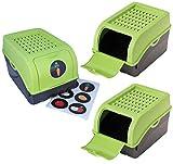 ARTECSIS Kartoffel Aufbewahrungsbox grün 3er Set I Gemüsebox Kartoffelbox mit Deckel für ca. 4 kg Kartoffeln + 6 Aufkleber mit Gemüsesorten