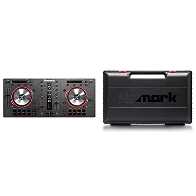 Numark Mixtrack 3 DJ Controller with 16 Multi-Function Pads, Filter Knobs, FX Controls and Virtual DJ, Audio Interface Required, Black + Protective Travel Case and Accessories with Padded Interior