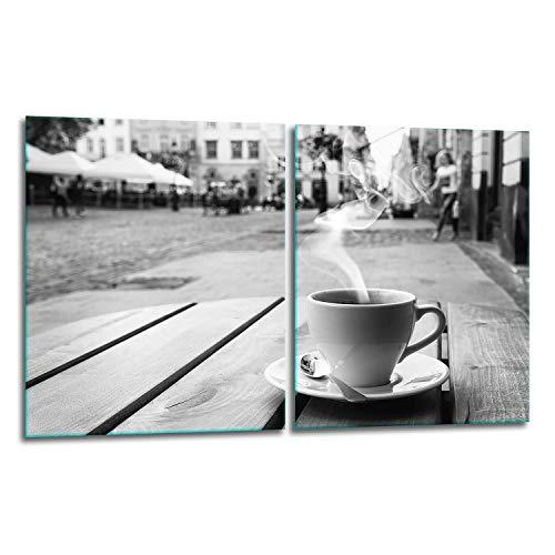 TMK | Juego de 2 cubiertas de vidrio para cubrir la vitrocerámica de 40 x 52 cm, protección contra salpicaduras, para cubrir la vitrocerámica, tabla de cortar, color gris y café