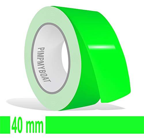 Siviwonder Zierstreifen neon grün in 40 mm Breite und 10 m Länge für Auto Boot Jetski Modellbau Klebeband Aufkleber Dekorstreifen neongrün Fluor