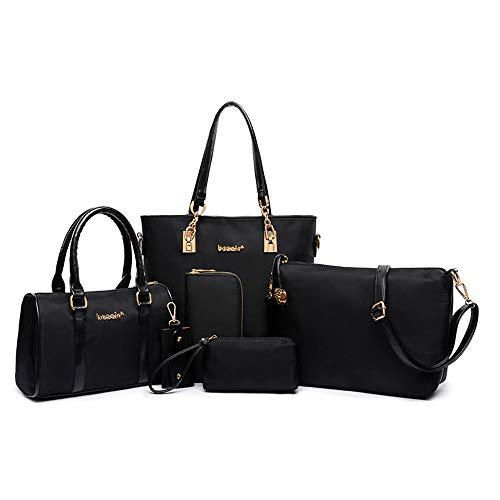 E-Cherry Frauen-Handtaschen eingestellt 6 Stück Tote Geldbörse Schulranzen Schultertasche Hobo Tasche und Brieftasche Set für Arbeit einkaufen Geschenke (Schwarz)