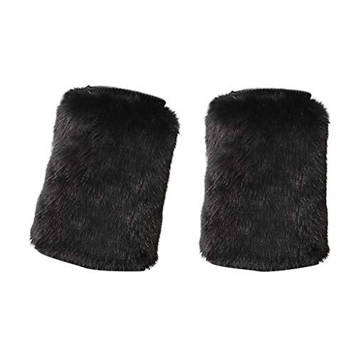 chiwanji Damen Kunstfell warme Beinstulpen Stiefelärmel Winter Stiefel Schuhe Manschette Kostüm - Schwarz, 40x20cm