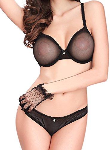 DotVol Femme Sexy See-Through Dentelle Mesh sans Doublure Soutien-Gorge Classique Quotidien avec Cadeau Culotte(FR90C=Tag75C, Noir)