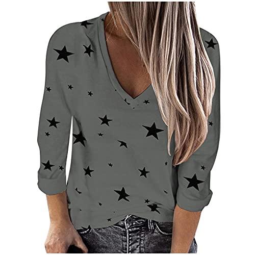 Sheey Mujer Estampado de Estrellas Moda Camiseta Verano Manga Larga Top Casual Cuello en V Otoño Invierno...