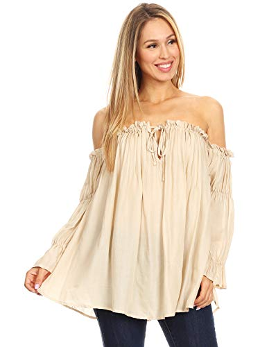 Anna-Kaci Womens Semi Sheer Boho Peasant Long Sleeve Off The Shoulder Top, Beige, XX-Large