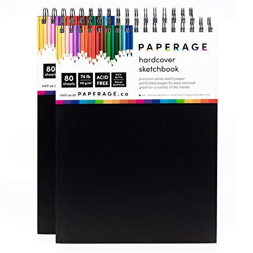 Cuaderno de bocetos 2 unidades, tapa dura, encuadernado en espiral, 80 hojas, papel de dibujo última intervensión de ácido blanco con páginas perforadas de 21,6 x 27,9 cm, para...