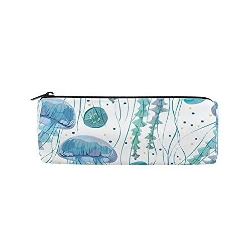 Estuche para lápices de medusas marinas azul, bolsa de lápices de playa, bolsa de papelería con cremallera, bolsa de maquillaje para mujeres, niños, niñas, adolescentes, niños, enfermeras escolares