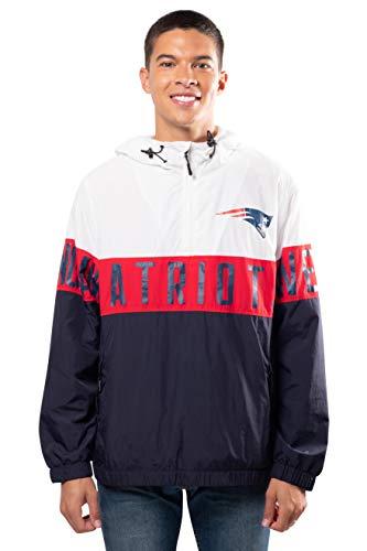 Ultra Game NFL New England Patriots Mens Quarter Zip Packable Hoodie Windbreaker Jacket, White, Small