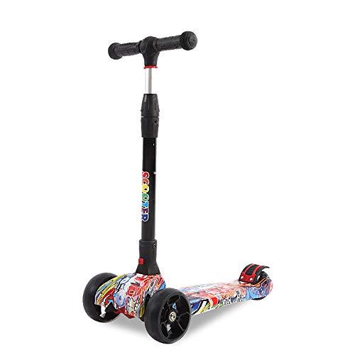 FAN Patineta de Tres Ruedas para niños De 3 a 14 años de Edad Un Solo Clic Plegado Aumentar Versión Equilibrio Scooter Flash Wheel