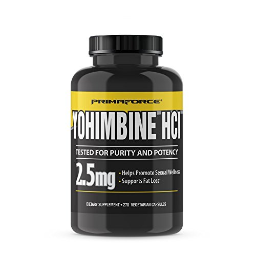 PrimaForce Yohimbine HCl 2.5mg, 270 Capsules - Premium Supplement for Fat Loss, Boosts Performance, Zero Fillers, Non-GMO and Gluten Free